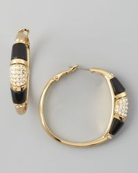 Rachel Zoe | Black Paveresin Hoop Earrings  | Lyst