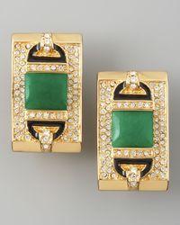 Rachel Zoe - Green Rectangular Clip Earrings  - Lyst