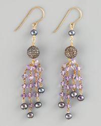 Wendy Brigode | Purple Amethyst Pearl Drop Earrings | Lyst