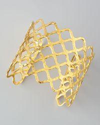 Devon Leigh - Metallic Woven Gold Cuff - Lyst