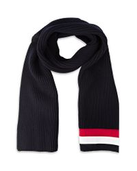 Moncler Gamme Bleu - Blue Solid Knit Scarf for Men - Lyst