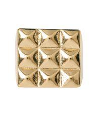 ASOS Metallic Asos Gold Pyramid Stud Ring for men