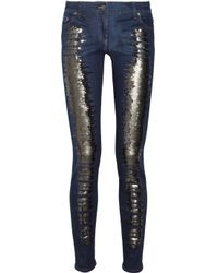Roberto Cavalli | Blue Sequined Lowrise Skinny Jeans | Lyst