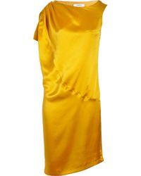 Thakoon Addition | Brown Asymmetric Silk-satin Dress | Lyst