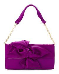 BCBGMAXAZRIA Purple Dark Orchid Satin Oversized Bow Clutch