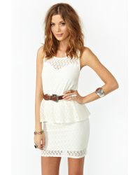 nasty gal laced peplum dress in ivory white  lyst