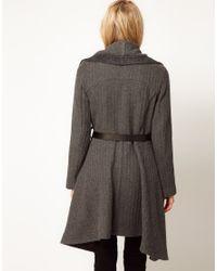 Oasis Gray Oasis Textured Drape Coat Grey