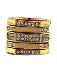 Vince Camuto | Metallic Set Of 5 Gold Tone Geometric Pave Rings | Lyst