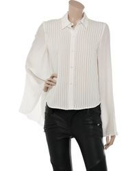 Alexander Wang White Pleated Cape-Style Silk Shirt