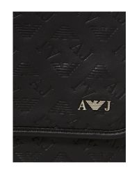 Armani Jeans Black All Over Logo Satchel with Zip for men