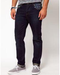 ASOS Blue Slim Jean with Bandana Print for men