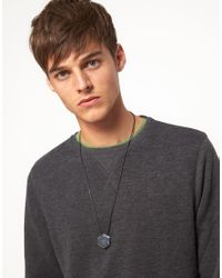 ASOS - Metallic Hollow Hexagon Charm Necklace for Men - Lyst