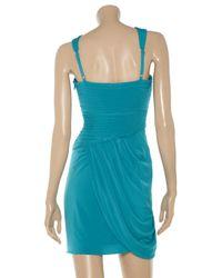 BCBGMAXAZRIA Blue Helyn Gathered Stretch Jersey Dress