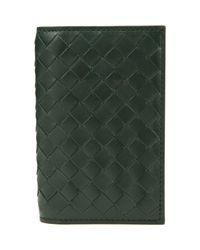 Bottega Veneta Green Intrecciato Credit Card Case for men