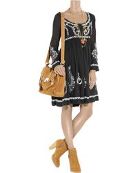 Collette by Collette Dinnigan | Black Embroidered Cotton-blend Voile Dress | Lyst