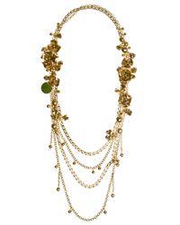 Elie Saab | Metallic Long Multichain Metal Flower Necklace | Lyst