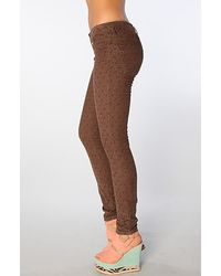 Free People | The Ditsy Floral Skinny Corduroy Pant in Charcoal Combo | Lyst