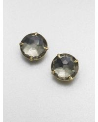 Ippolita - Gray 18k Gold Pyrite Doublet Stud Earrings - Lyst