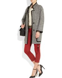Isabel Marant | Gray Khan Suede Trimmed Bouclé Wool Blend Coat | Lyst