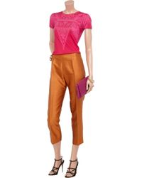 Jonathan Saunders Purple Birch Printed Cashmere and Silk Blend Top