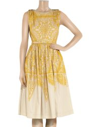 Jonathan Saunders - Natural Renton Printed Cotton and Silk-blend Dress - Lyst