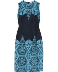 Jonathan Saunders - Blue Roux Printed Cotton Blend Dress - Lyst