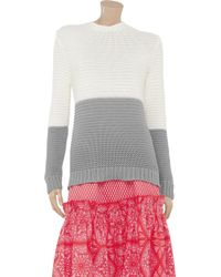 Jonathan Saunders White Color block Knitted Cotton Sweater