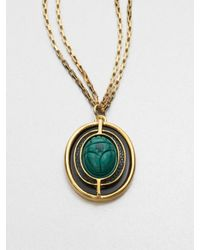 Kara Ross - Green Malachite Lizard Pendant Necklace - Lyst