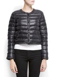 Mango Black Feather Quilted Short Anorak