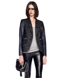 MICHAEL Michael Kors Black Faux Leather Sleeve Tweed Blazer