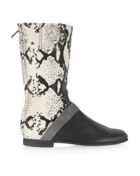 Newbark Black Joey Leather and Calf Hair Boots