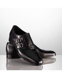 Ralph Lauren Black Double Monk-strap Loafer for men