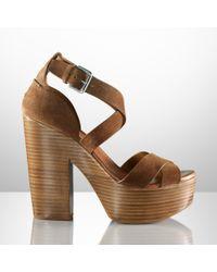 Ralph Lauren Collection Brown Alannah Suede Platform Sandal