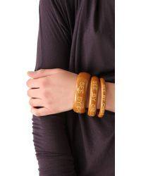 See By Chloé - Brown Logo Bangles - Lyst