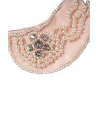 TOPSHOP Natural Pearl Collar Peplum Top
