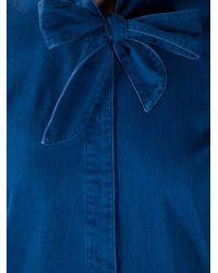 A.P.C. Blue Bow Detail Denim Blouse