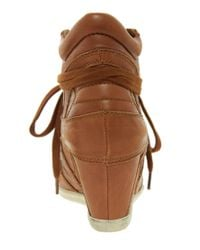 Ash - Brown Bowie Leather Wedge Trainers - Lyst