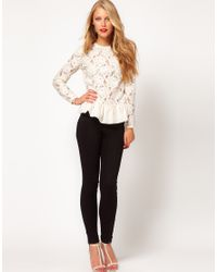 ASOS Collection | Black Asos Heavy Lace Top with Peplum | Lyst
