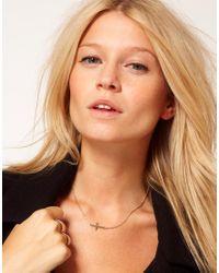 ASOS | Metallic Fine Cross Charm Necklace | Lyst
