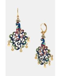 Betsey Johnson | Blue Gold-tone Peacock Drop Earrings | Lyst