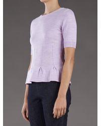 Carven Pink Peplum Knit Top