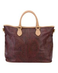 Etro Brown Faded Paisley Print Bag