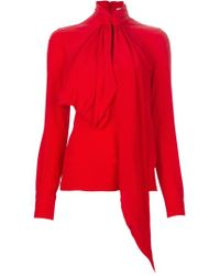 Givenchy Red Pussy Bow Blouse