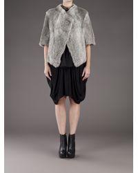 Hache Gray Rabbit Fur Jacket