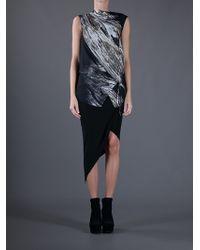 Helmut Lang Black Asymmetric Helix Skirt