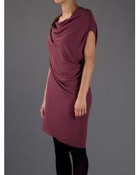 Helmut Lang Purple Asymmetric Dress