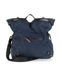 Jérôme Dreyfuss Blue Franky Canvas and Vachetta Messenger Bag for men