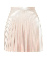 Lover Pink Pleated Faux Leather Mini Skirt