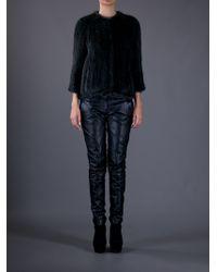 Meteo by Yves Salomon Green Mink Fur Coat
