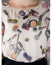 Boutique Moschino White Cosmetics Print Dress